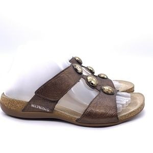Mephisto Shoes - Mephisto Open Back Cork Bed Sandals Sz 38 Bronze